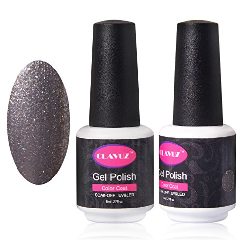 CLAVUZ Silver Glitter Nail Polish with UV LED Professional Salon Nail Art Lacquer 0.27 Fluid Ounce (Sation Glitter Nail Polish compare prices)
