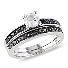 Sterling Silver Created White Sapphire and Black Accent Diamond Bridal Set Ring (0.2 Cttw), Size 7.5