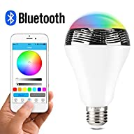 1byone New Wireless Bluetooth 4.0 Speaker Smart LED Night Light Bulb Audio Music RGB Lamp-…