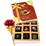 Great Surprises Of Dark Chocolate Box With 24k Red Gold Rose - Chocholik Belgium Chocolates