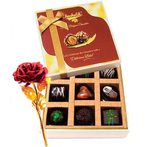 Great Surprises Of Dark Chocolate Box With 24k Red Gold Rose - Chocholik Belgium Chocolates