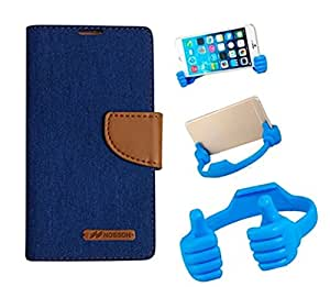 Aart Fancy Wallet Dairy Jeans Flip Case Cover for MicromaxQ380 (Blue) + Flexible Portable Mount Cradle Thumb OK Designed Stand Holder By Aart Store.