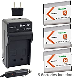 Kastar Battery (3-Pack) and Charger Kit for NP-BN1, BC-CSN work with Sony Cyber-shot DSC-QX10,DSC-QX100,DSC-T99,DSC-T110,DSC-TF1,DSC-TX5,TX7,TX9,DSC-TX10,DSC-TX20,DSC-TX30,DSC-TX55,DSC-TX66,DSC-TX100V,DSC-TX200V,DSC-W310,DSC-W320,DSC-W330,DSC-W350,DSC-W36
