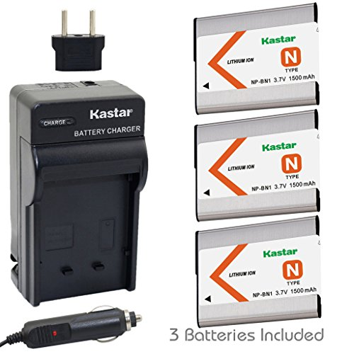 Kastar Battery (3-Pack) and Charger Kit for NP-BN1, BC-CSN work with Sony Cyber-shot DSC-QX10,DSC-QX100,DSC-T99,DSC-T110,DSC-TF1,DSC-TX5,TX7,TX9,DSC-TX10,DSC-TX20,DSC-TX30,DSC-TX55,DSC-TX66,DSC-TX100V,DSC-TX200V,DSC-W310,DSC-W320,DSC-W330,DSC-W350,DSC-W360,DSC-W380,DSC-W390,DSC-W510,DSC-W515PS,DSC-W520,DSC-W530,DSC-W550,DSC-W560,DSC-W570,DSC-W580,DSC-W610,DSC-W620,DSC-W650,DSC-W690,DSC-W710,DSC-W730,DSC-W810,DSC-W830,DSC-WX5,DSC-WX7,DSC-WX9,DSC-WX30,DSC-WX50,DSC-WX70,DSC-WX80,DSC-WX150,DSC-WX220