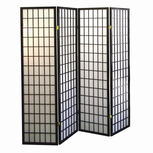 Fantastic Deal! ORE International 4-Panel Shoji Screen Room Divider, Black