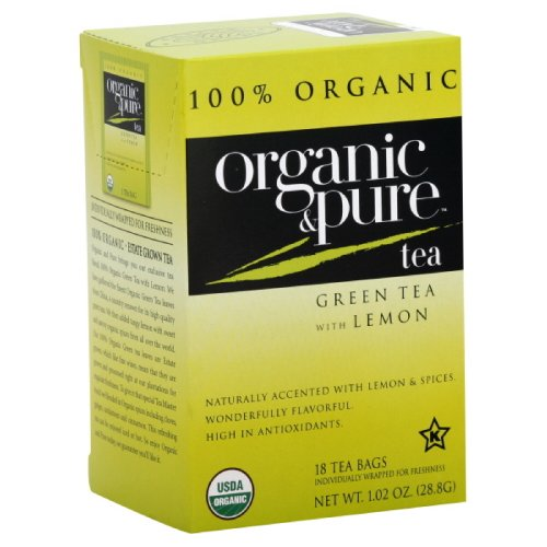 Organic & Pure Green Tea Lemon, 18-Count (Pack Of6)