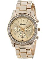 Geneva Rose Gold Plated Classic Round CZ Stainless Steel Back Ladies Boyfriend Watch (1 Gold)
