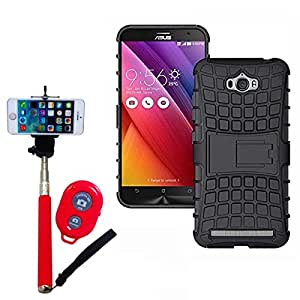 Hard Dual Tough Military Grade Defender Series Bumper back case with Flip Kick Stand for Asus Zenfone Maxx + Wireless Bluetooth Remote Selfie Stick for all Smart phones by carla store.