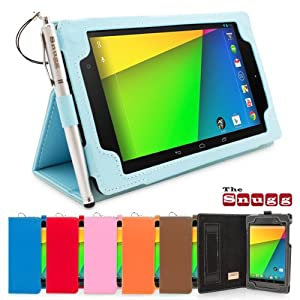 Snugg Nexus 7 2 FHD Case - Smart Cover with Flip Stand & Lifetime Guarantee (Baby Blue Leather) for Google Nexus 7 2 FHD (2013)