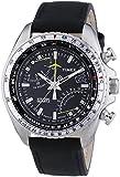 Timex Men's T2P101 Black Leather Analog Quartz Watch with Black Dial