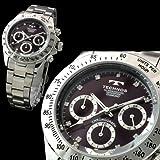 スイス・ブランド デイトナDesign ダイヤモンド使用 メンズ クロノグラフ腕時計 【TECHNOS SWISS】 ダイアル:ワイン・レッド ハンズ;シルバー 全4色