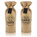 BRIX750ML Burlap Wine Bag - 2 Stylish, Reusable Jute Burlap Wine Bags With Drawstring - Eco-Friendly - Includes Chalkboard Gift Tags For Personalized Greetings - Fits Standard Wine Bottles - The Ultimate Wine Making Accessories Gift To Take To Your Party