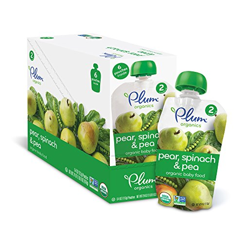 Plum Organics Baby Second Blends, Spinach, Peas and Pear, 4 Ounce Pouches (Pack of 12) (Pear Juice Organic compare prices)