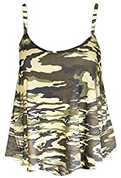 Womens Printed Plus Size Strappy Cami Swing Vest Top