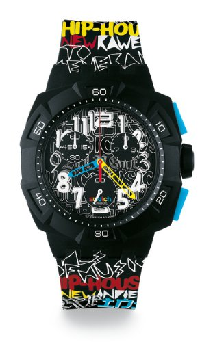 Swatch Chrono Plastic Boom The Lyrics Black Dial Men's Watch SUIB101