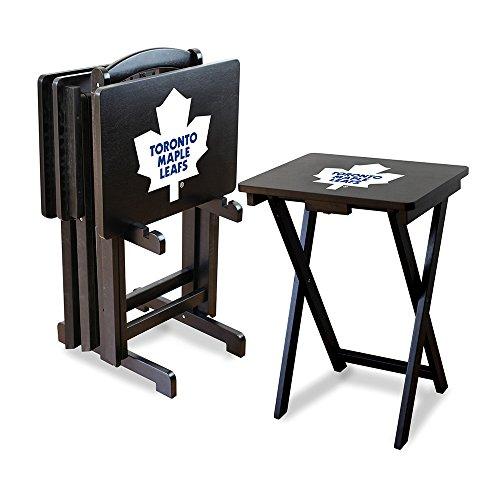 Nhl Toronto Maple Leafs Tv Snack Trays With Storage Rack (Set Of 4)