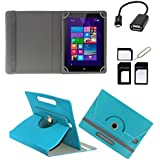 ECellStreet ROTATING 360° PU LEATHER FLIP CASE COVER FOR Acer Iconia A1-713 7 INCH TABLET STAND COVER HOLDER - Aqua Blue + Free OTG Cable + Free Sim Adapter Kit + 6000 MAh PowerBank With Emergency Light