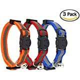 Reflective Cat Collar With Bell Set Of 3 Solid Nylon Mixed Colors Cool Pet Cat Collars For Small Dogs By Bemix