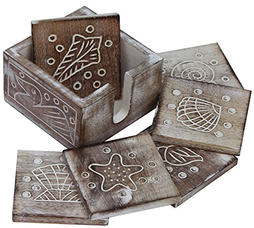souvnear-drink-coasters-set-of-6-handmade-square-wood-coasters-with-holder-shabby-chic-beverage-coas