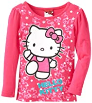 Hello Kitty Girls 2-6X Cerise Long Sleeve Screenprinted Tee, Pink, 2T