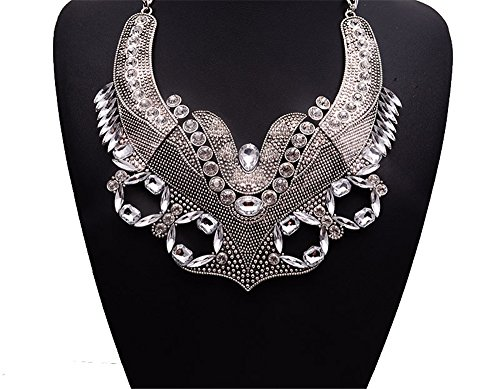 Girl Era Fashion Stunning Style Luxury Fox Pendant Statement Chunk Collar Necklace Wedding Party(white)