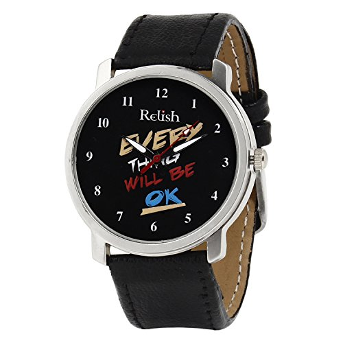 Relish White Analog Leather Round Automatic Casual Wear Watches For Men - B00XPMRCII