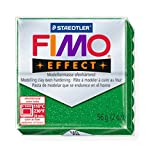 STAEDTLER FIMO Effect Glitter Green (502) FIMO Effect Polymer Modelling Moulding Clay Block Oven Bake Colour 56g (Pack Of 1)
