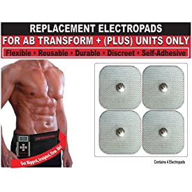 Beautyko Self Adhesive Replacement Gel Toning Pads for Ab Transform Plus+ Abdominal Toning Belt (FDA Cleared - As Seen On TV) (Set of 4)