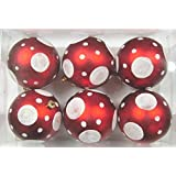 Queens Of Christmas WL-ORN-6PK-DOT-RE 6 Pack Ball Ornament With Dot Design, Red/White
