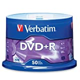 Verbatim 95037 4.7 GB up to16x Branded Recordable Disc DVD+R - 50 Disc Spindle (Silver)by Verbatim