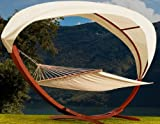 Wooden Garden Hammock with Arc Stand and Canopy Double Sun Bed Lounger Hardwood