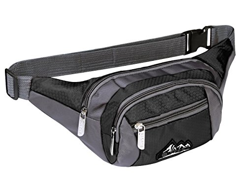 Water Resistant Waist Fanny Pack Cell Phone Pouch Shoulder StrapBlack