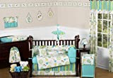Turquoise Blue and Lime Green Layla Floral Baby Girl Bedding 9pc Flower Crib Set by Sweet Jojo Designs