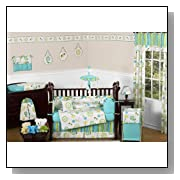 Turquoise Blue and Lime Green Layla Floral Baby Girl Bedding