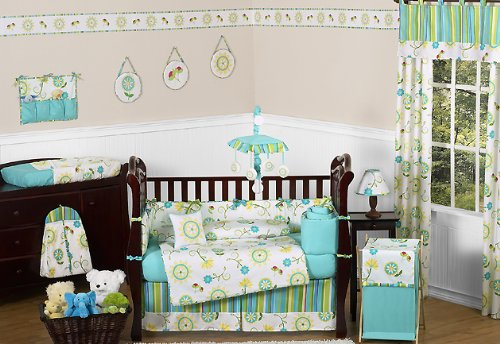 Turquoise Baby Girl Crib Bedding - cover