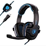 Sades Stereo 7.1 Surround Pro USB Gaming Headset with Mic Headband Headphone (Black) (Color: !other)