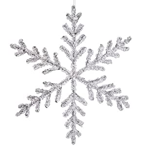 """12"""" Large Clear Icy Silver Glitter Snowflake Christmas Ornament"""