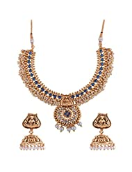 Ganapathy Gems 1 Gram Gold Plated Traditional South Indian Temple Jewellery Set With Pearls. - B00SV4TLDO