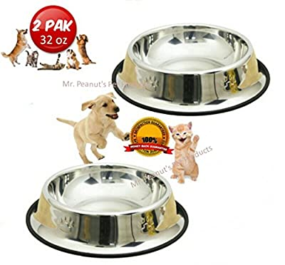 Mr. Peanut's 32 oz Set of 2 Stainless Steel Dog Bowls * Easy to Clean & Bacteria Resistant * Rust Proof with Non-Skid Durable Rubber Edge * Perfect for Dogs, Cats & Even Small Dragons :)