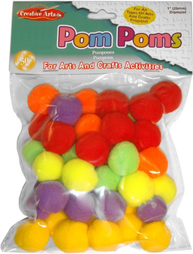 Charles Leonard Pom-Poms, 1 Inch, Hot Colors, 50/Bag (69516)