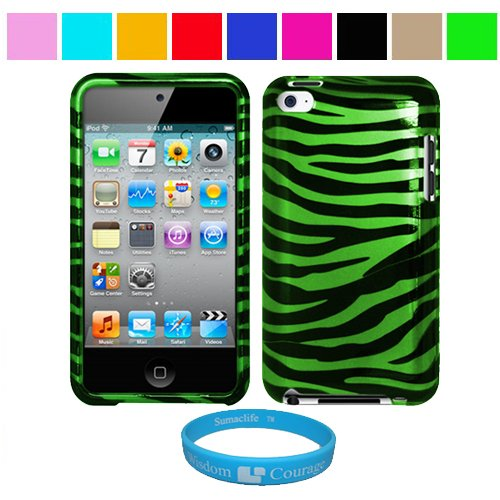 Durable Green Zebra Two Piece Front and Back Protective Hard Shell Crystal Cover Case for Apple iPod Touch 4th Generation + SumacLife TM Wisdom Courage Wristband, Green Zebra