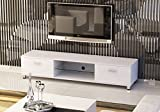 New Black/White/White Oak LED/LCD/Plasma High Gloss MDF TV Stand With or Without LED Lights for 32 to 70 inches with two drawers and Glass Shelf by Limitless Base (White), width 160cm