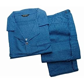 Mens Patterned Flannel Material Long Sleeve Pyjamas/Nightwear in Blue (100% Cotton)