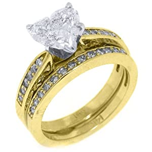 14k yellow gold heart shape diamond engagement