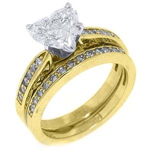 14k yellow gold heart shape diamond engagement