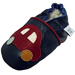 Dotty Fish Baby Boys\' Soft Leather Shoe with Suede Soles 2-3 years Navy Red Car