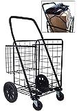 Premium Heavy Duty Metal Swivel Wheels JUMBO Folding Shopping Grocery laundry Cart with Extra Basket - BONUS: FREE CARGO NET