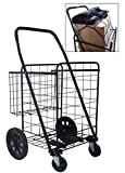 Premium Heavy Duty Metal Swivel Wheels JUMBO Folding Shopping Grocery laundry Cart with Extra Basket - BONUS: FREE CARGO NET