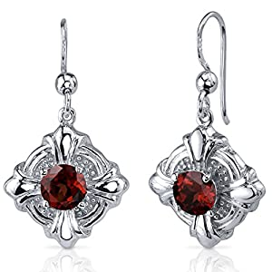 Victorian Style 2.00 Carats Garnet Round Cut Dangle Cubic Zirconia Earrings in Sterling Silver Rhodium Nickel Finish