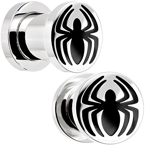 Officially Licensed Marvel Comics Stainless Steel Spiderman Logo Screw Fit Plug Set 0 Gauge
